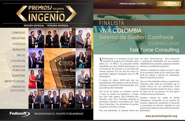 Compartimos reconocimiento de FEDESOFT (Federación Colombiana de la Industria de Software y TI) como finalistas PREMIOS INGENIO por el caso de éxito del sistema comforce® en la aerolínea VivaColombia.